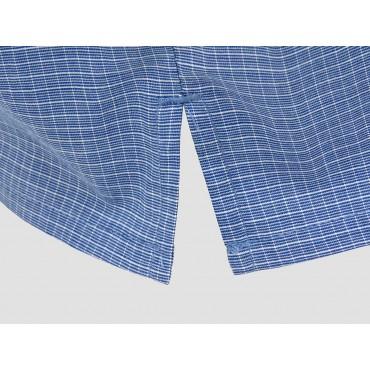 Dettaglio spacco - Kent - Boxer da uomo in cotone blu con quadretti bianchi