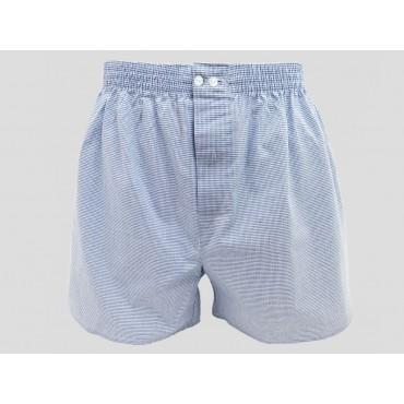 Model - Kent - Men's blue checkered cotton boxer shorts