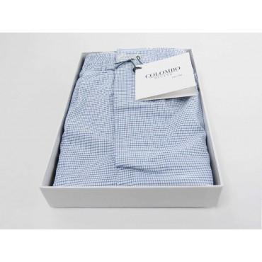 Open box - Kent - Men's boxer in blue checkered cotton
