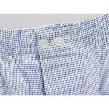 Detail - Kent - Men's blue checkered cotton boxer shorts