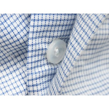 Buttons detail - Kent - Men's boxer in blue checked cotton