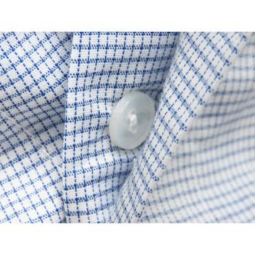 Dettaglio bottoni - Kent - Boxer da uomo in cotone a quadretti blu