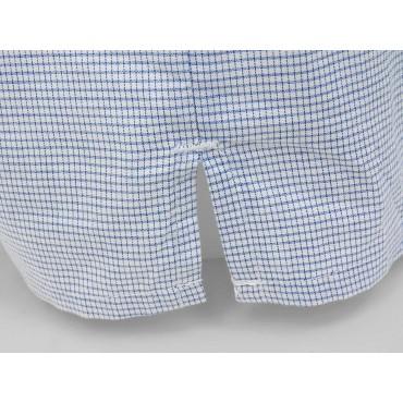 Slit detail - Kent - Men's blue checkered cotton boxer shorts