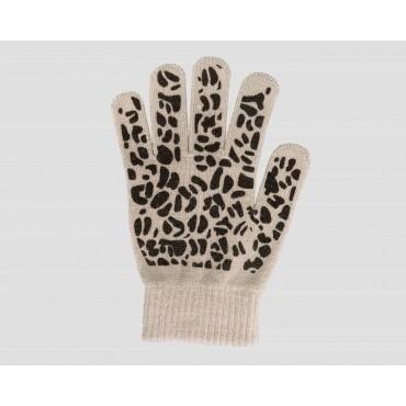 Beige  - guanti donna magici - guanti elasticizzati touchscreen con stampa leopardata