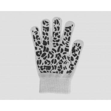 Grigi - guanti donna magici - guanti elasticizzati touchscreen con stampa leopardata