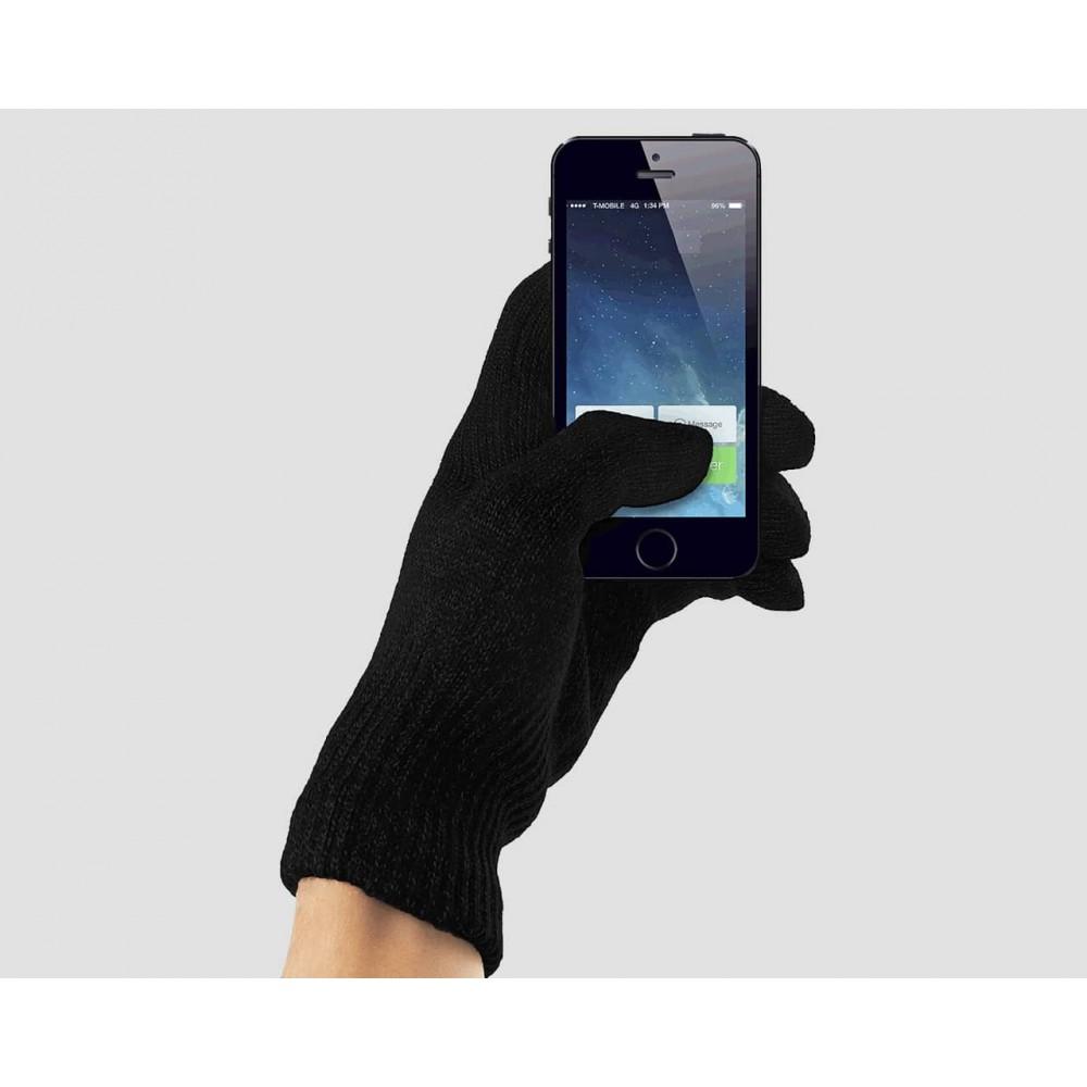 Elastic touchscreen gloves black