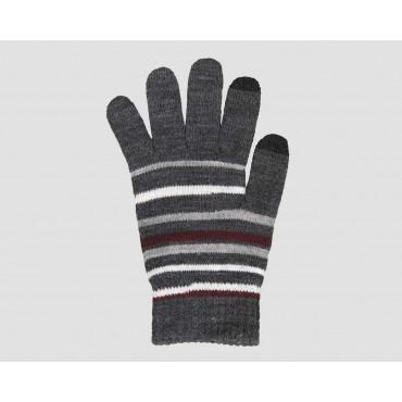 Grigio/bordeaux - guanti magici uomo - guanti elasticizzati touchscreen rigati