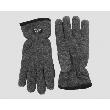 Grigi - guanti uomo - guanti caldi con bordo in pelle scamosciata con imbottitura Thinsulate
