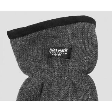 Dettaglio  - guanti uomo - guanti caldi con bordo in pelle scamosciata con imbottitura Thinsulate