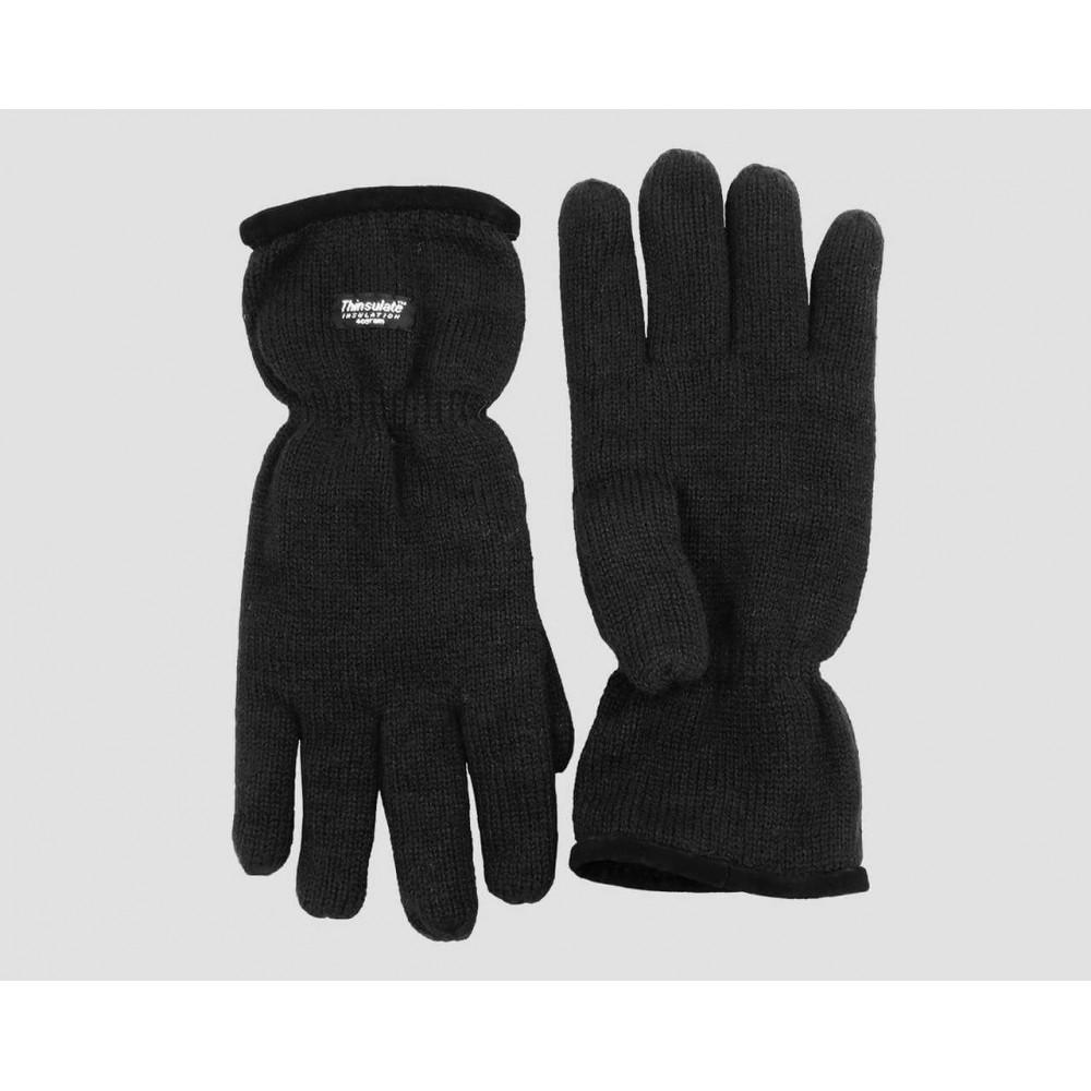 Neri - guanti uomo - guanti caldi con bordo in pelle scamosciata con imbottitura Thinsulate