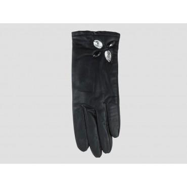 Modello - guanti donna - guanto nero in ecopelle con pietre cucite a mano