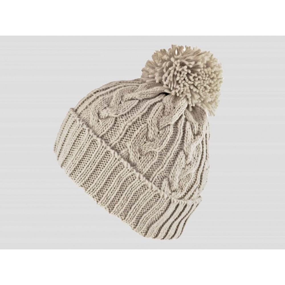 Beige - berretto - cappello morbido tricot lavorato a trecce con risvolto e pompon