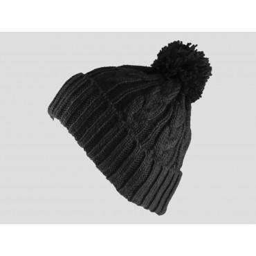 Nero - berretto - cappello morbido tricot lavorato a trecce con risvolto e pompon