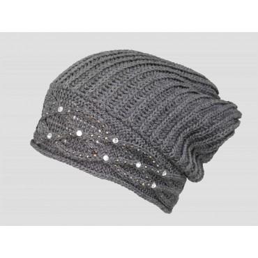 Grigio - berretto donna - cappello morbido tricot con motivo a catene tempestato di strass