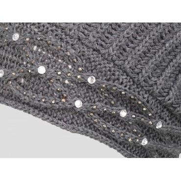 Dettaglio - berretto donna - cappello morbido tricot con motivo a catene tempestato di strass
