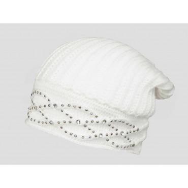panna - berretto donna - cappello morbido tricot con motivo a catene tempestato di strass