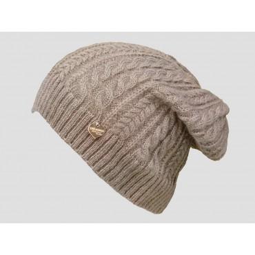 Camel - berretto donna - cappello morbido tricot lavorato a trecce con medaglietta oro a cuore