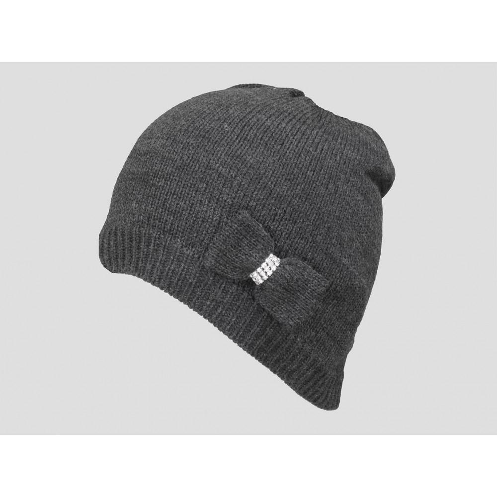 Grigio - berretto donna - cappello tricot con fiocco a maglia con strass