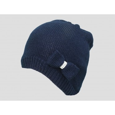 Blu - berretto donna - cappello tricot con fiocco a maglia con strass