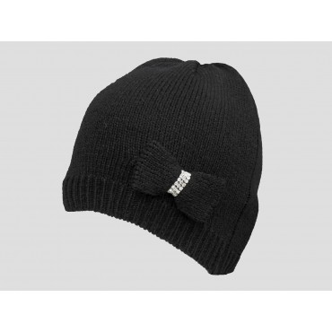 Nero - berretto donna - cappello tricot con fiocco a maglia con strass