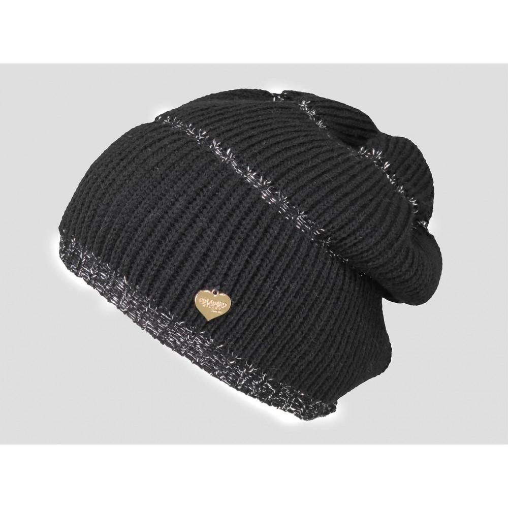 Nero - berretto donna - cappello morbido tricot a balze con lurex argento decorato da una medaglietta d'oro a forma di cuore