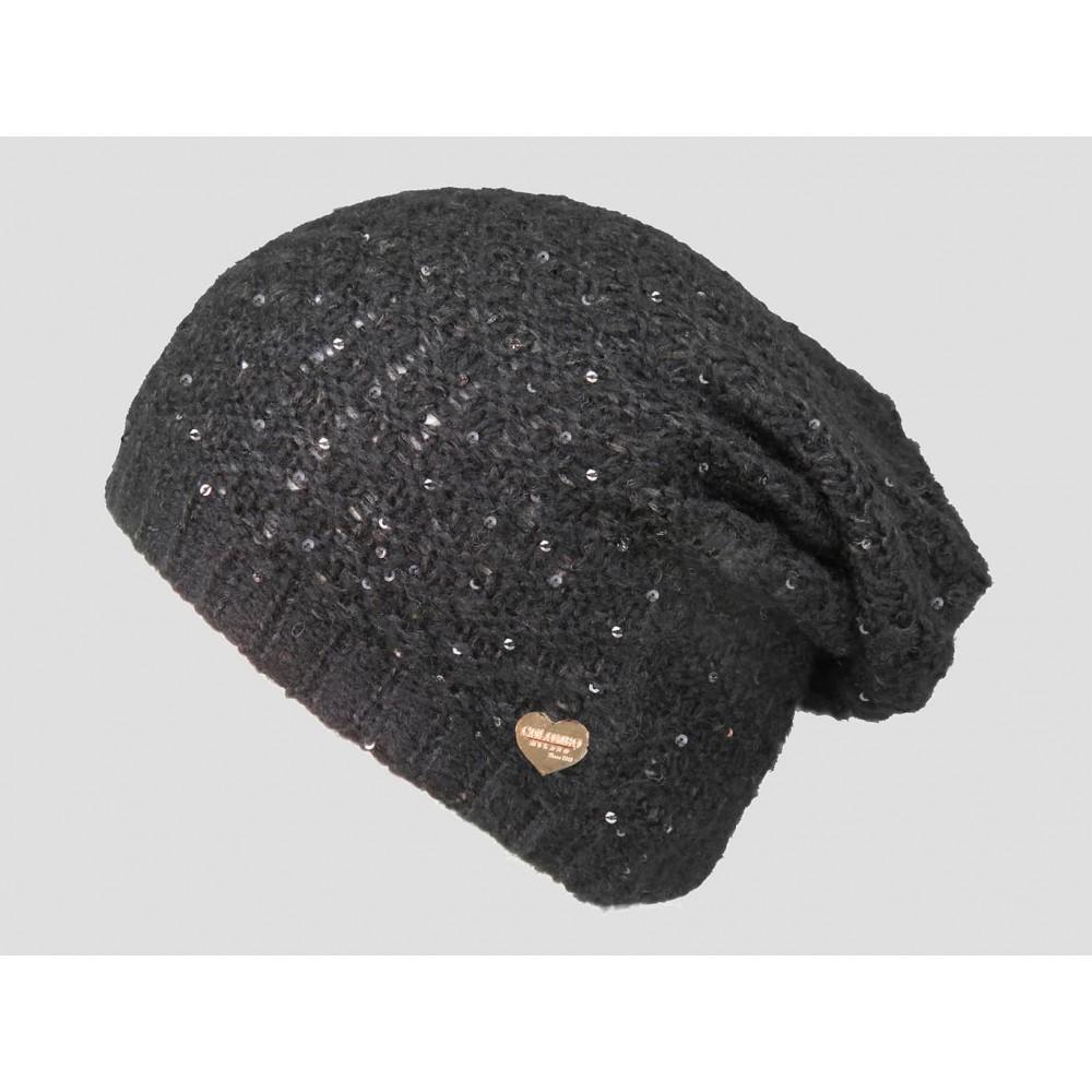 Nero  - berretto donna - cappello morbido tricot tempestato di pailettes con medaglietta d'oro a forma di cuore