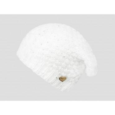 Panna - berretto donna - cappello morbido tricot tempestato di pailettes con medaglietta d'oro a forma di cuore