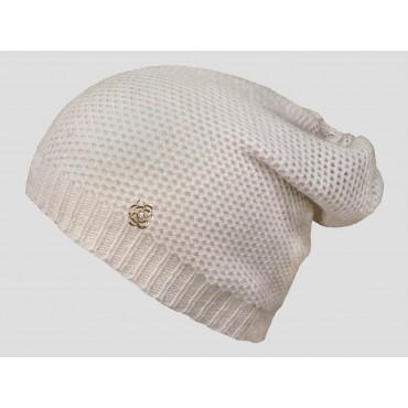 Beige - berretto donna - cappello morbido tricot traforato e decorato da un fiore d'oro con brillantino