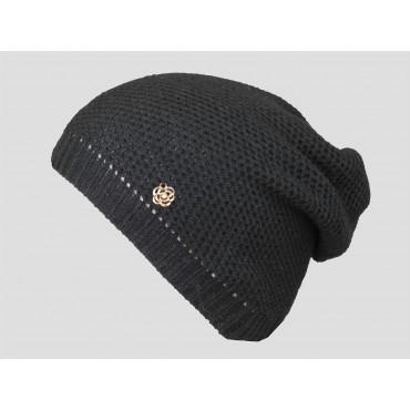 Nero - berretto donna - cappello morbido tricot traforato e decorato da un fiore d'oro con brillantino