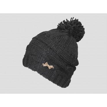 Nero - berretto donna - cappello morbido tricot a trecce con pom-pon decorato da un fiocco d'oro con strass