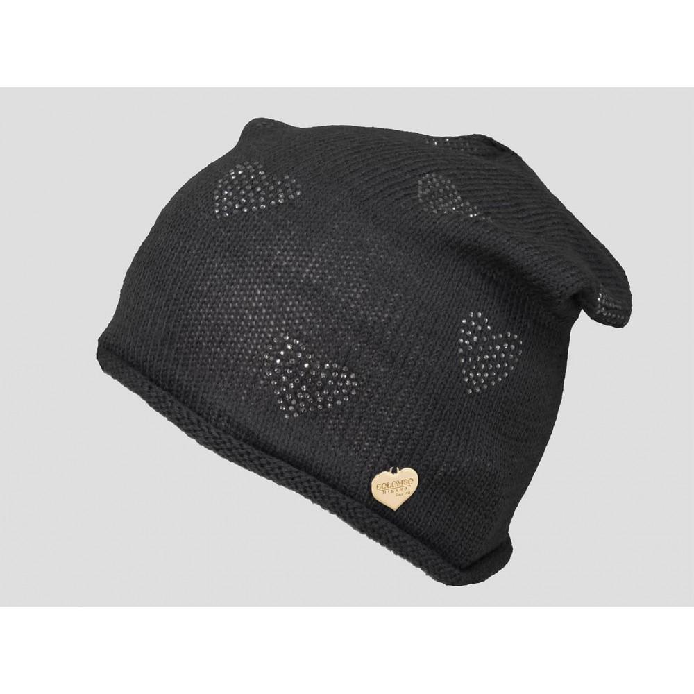 Nero - berretto donna - cappello morbido tricot con cuori di strass e medaglietta oro a forma di cuore