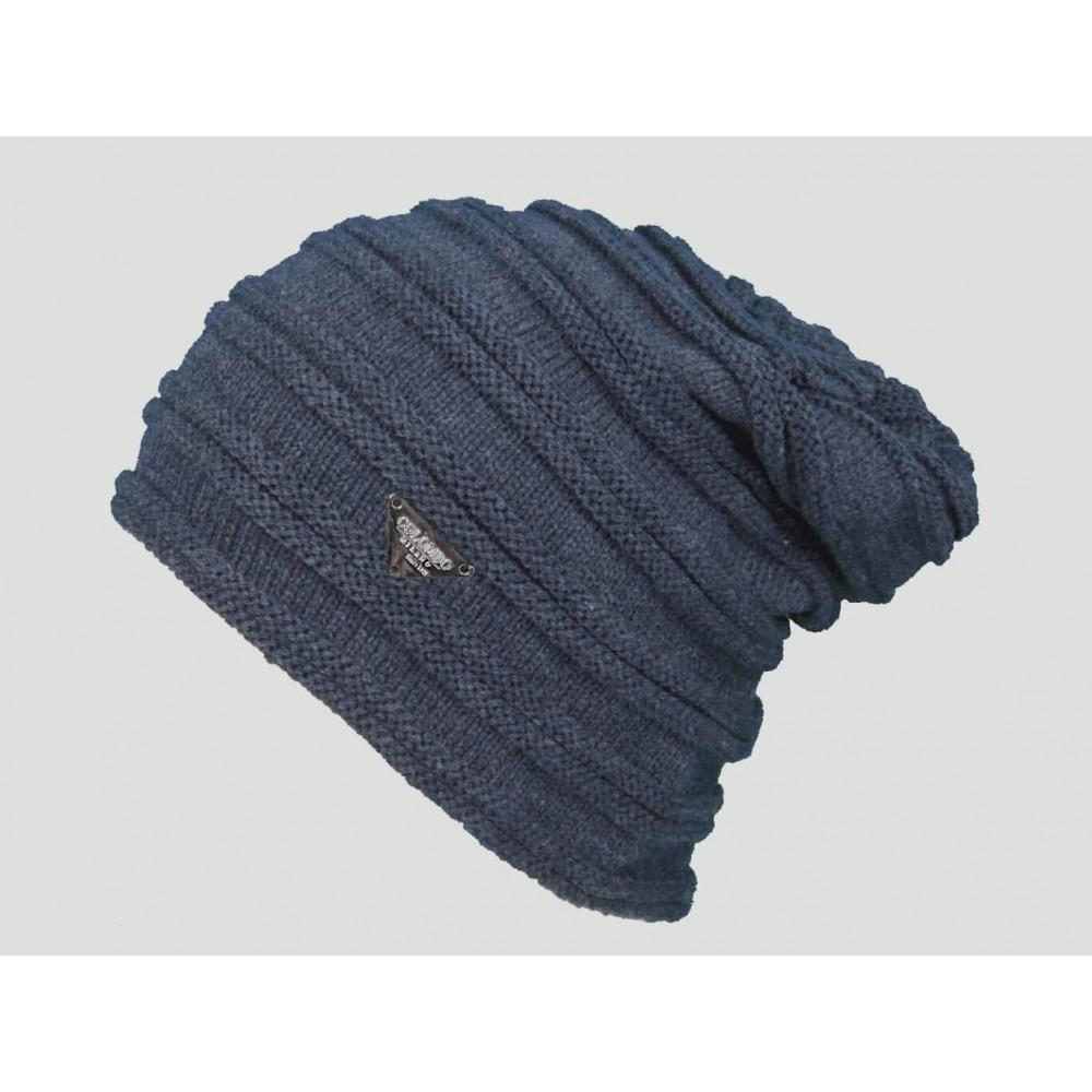 Modello blu  - berretto - cappello morbido da uomo con lavorazione a coppie di coste orizzontali