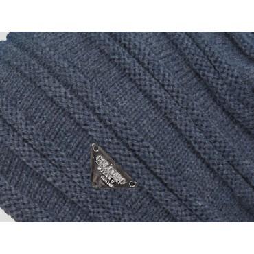 Dettaglio - berretto - cappello morbido da uomo con lavorazione a coppie di coste orizzontali
