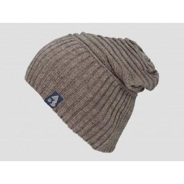 Marrone - berretto uomo - cappello morbido con lavorazione a coppie di coste orizzontali