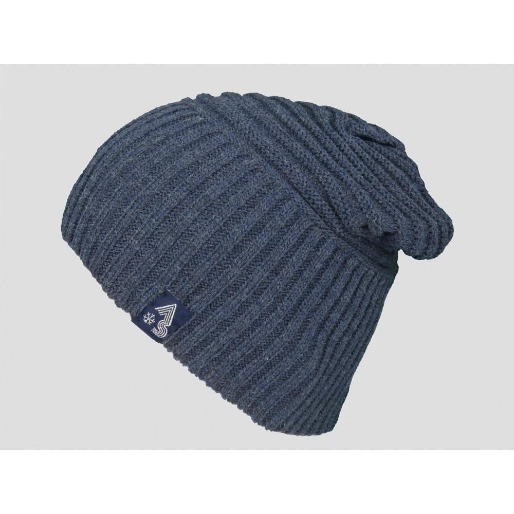 Blu - berretto uomo - cappello morbido con lavorazione a coppie di coste orizzontali
