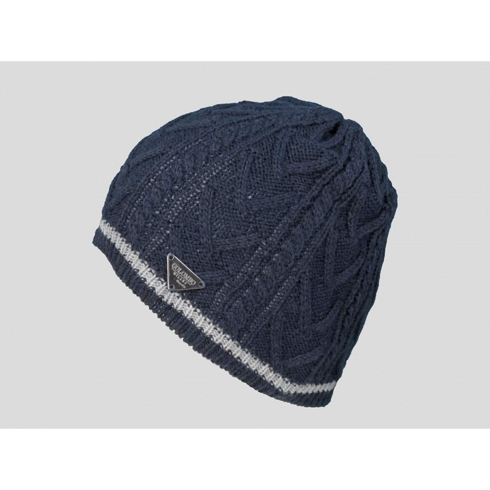 Blu  - berretto uomo - cappello tricot con lavorazione a spighe e a trecce e riga sul bordo