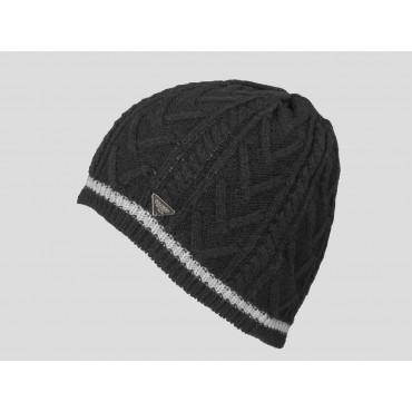 Nero - berretto uomo - cappello tricot con lavorazione a spighe e a trecce e riga sul bordo