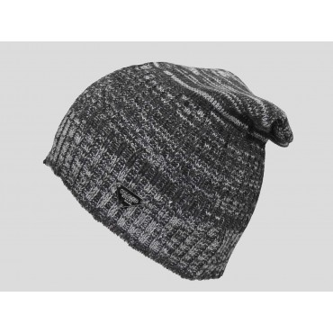 Grigio - berretto uomo - cappello lungo tricot bicolore con lavorazione a filato ritorto