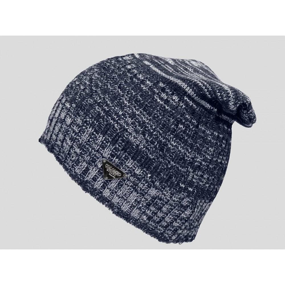 Blu - berretto uomo - cappello lungo tricot bicolore con lavorazione a filato ritorto