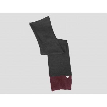 Grigio/bordeaux - sciarpa uomo - sciarpa tricot bicolore