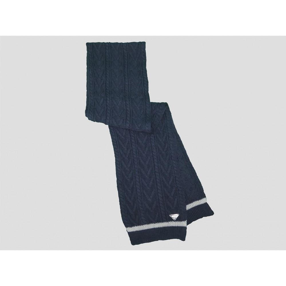 Blu - sciarpa uomo - sciarpa tricot con lavorazione a spighe e trecce e sottile riga sul bordo