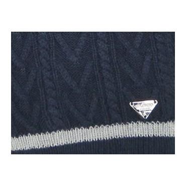 Dettaglio - sciarpa uomo - sciarpa tricot con lavorazione a spighe e trecce e sottile riga sul bordo