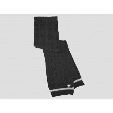 Nera - sciarpa uomo - sciarpa tricot con lavorazione a spighe e trecce e sottile riga sul bordo