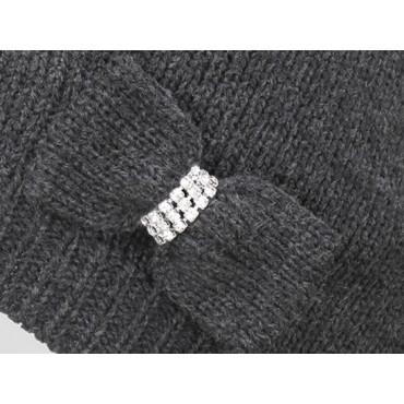 Dettaglio - berretto donna - cappello tricot con fiocco a maglia con strass