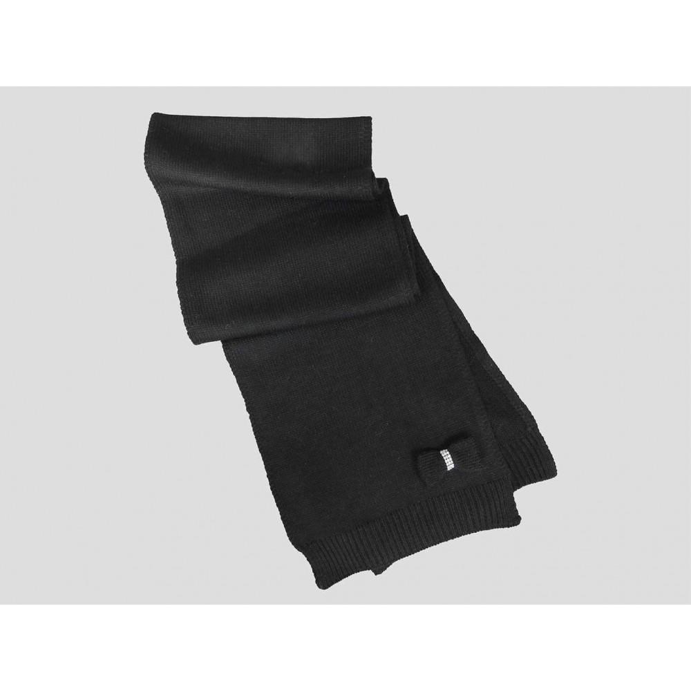Nera - sciarpa donna - sciarpa tricot con fiocco in maglia con strass