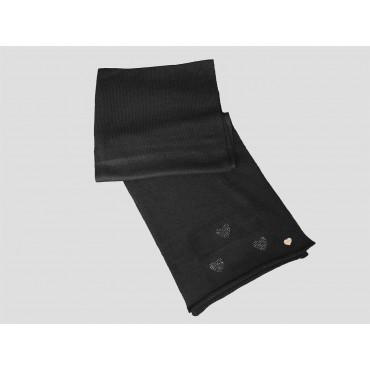 Nera - sciarpa donna - grande sciarpa tricot con cuori di strass