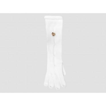 Panna - guanti donna - guanti lunghi con pence sul dorso e medaglietta d'oro a cuore