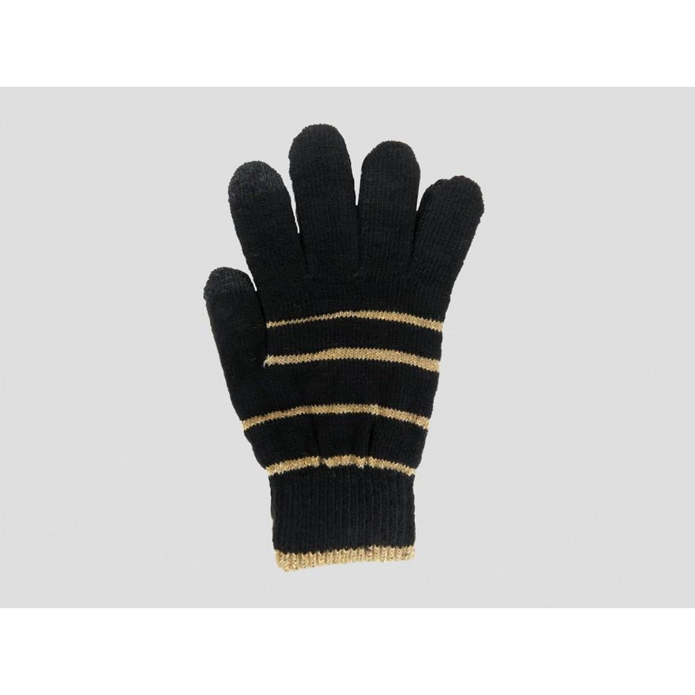 Nero/oro - guanti donna magici - guanti elasticizzati touchscreen con lurex