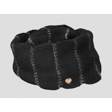 Nera - sciarpa donna - sciarpa ad anello lavorata a balze con lurex argento