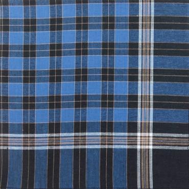 Variante quadri blu - Dark - fazzoletto di cotone da uomo scuro